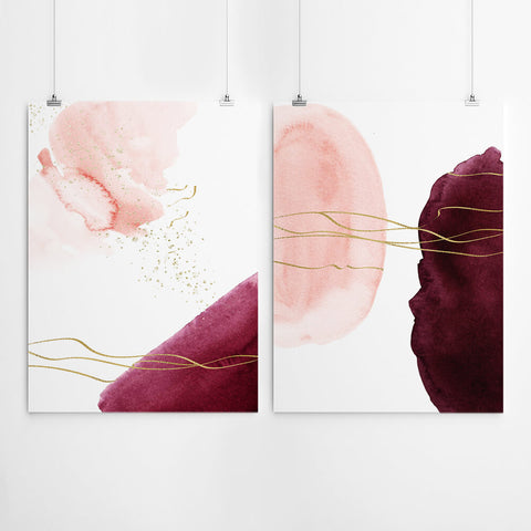 Blush Pink Abstract watercolour Wall Art