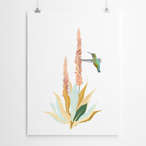 aloe and bird wall art print
