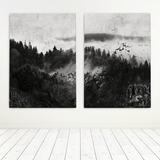 black-and-white-forest-painting
