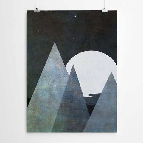 Black And White Geometric Mountain Art