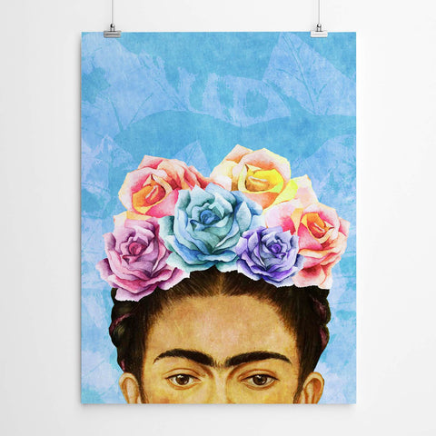 blue frida kahlo wall art print