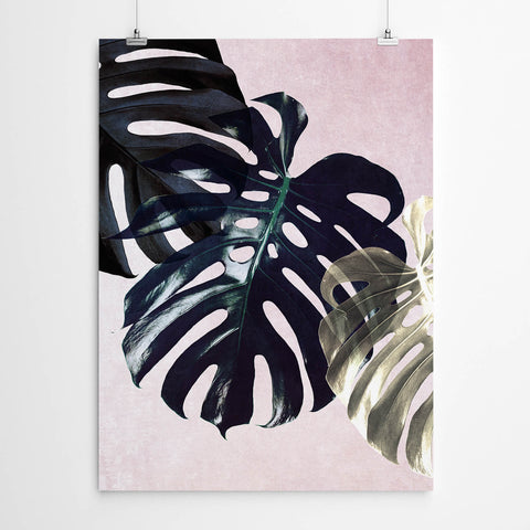Black And Pink Monstera Leaf Wall Art