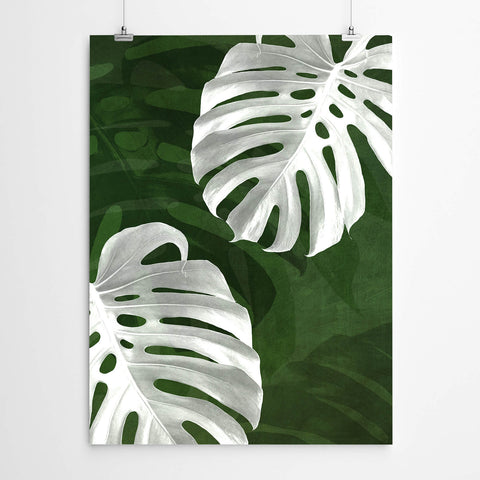 White And Green Monstera Leaf Wall Art