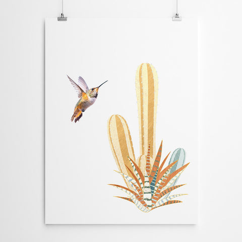 cactus and bird wall art print