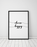 Happiness Insperational Typography Print