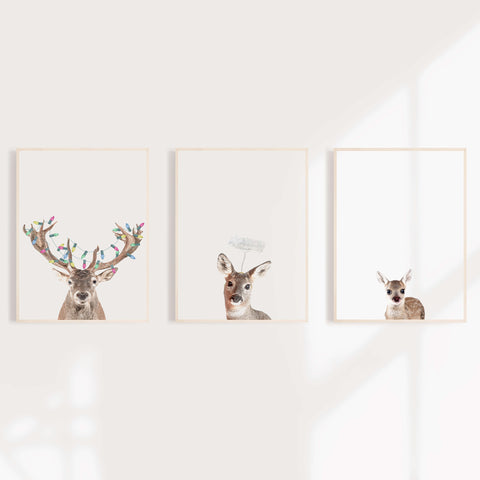 Reindeer Family Christmas Wall Art Prints