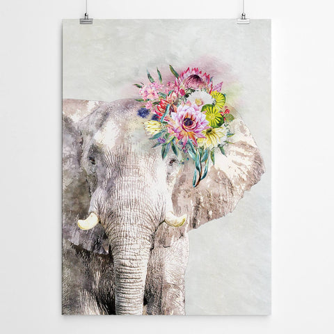 elephant watercour print