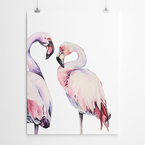 Watercolour Flamingo Wall Art