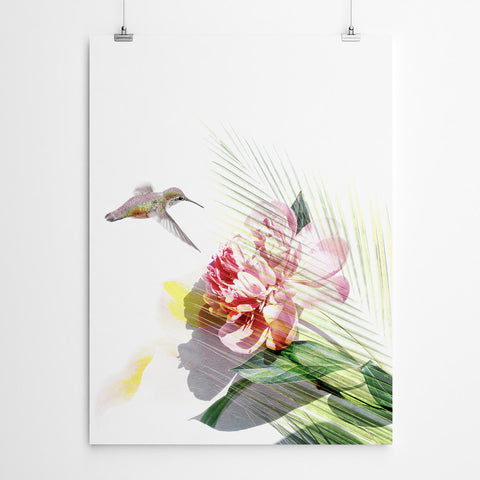 Floral Hummingbird Wall Art