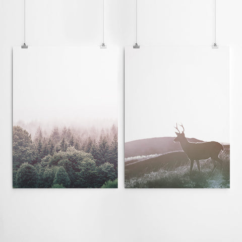 Forest And Stag Wall Art Print Set