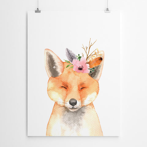 Watercolour Fox Nursery Art