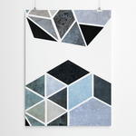 blue and gray geometric art print