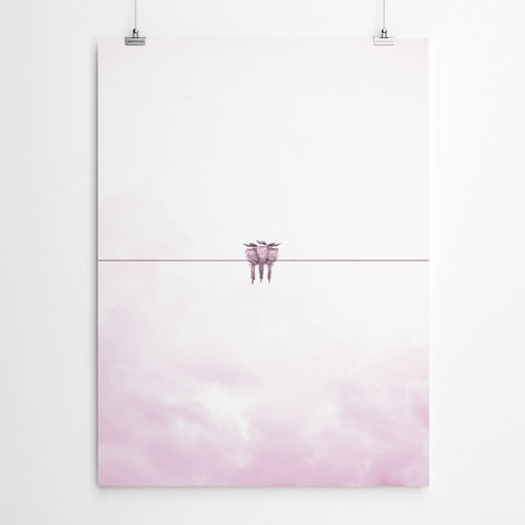Pink Bird Nursery Wall Art Print