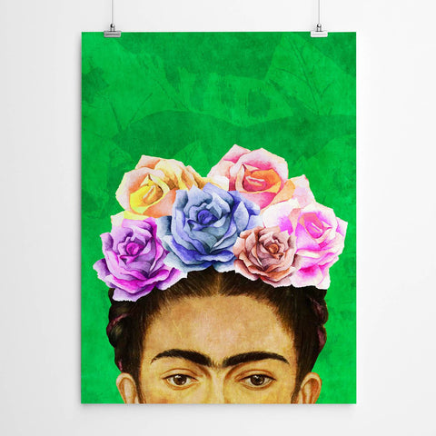 green frida kahlo wall art