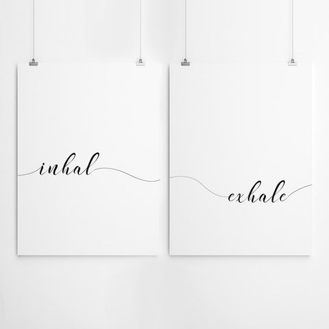 Inhale Exhale Typography Wall Art