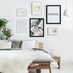 Drawings gallery in bright bedroom