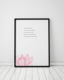 Lotus Flower Typography Wall Art Prints