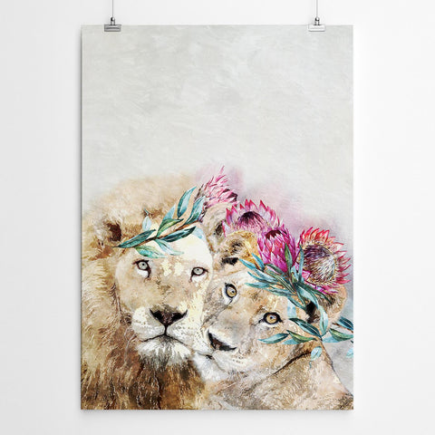 lion watercolour painting
