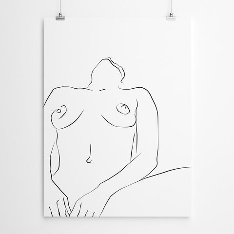 Minimalist Nude Line Drawing Art