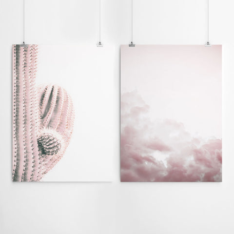 Pink Cactus And Clouds Wall Decor
