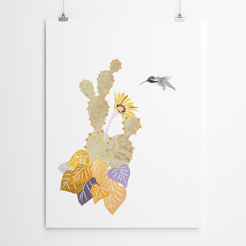 purple humming bird wall art print
