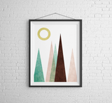 Abstract Mountain Geometric Wall Art Print