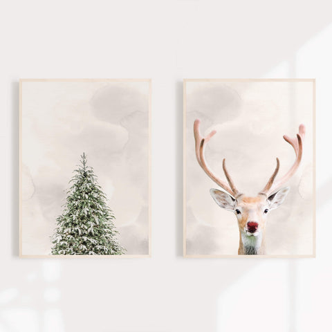 Fir Tree And Rudolph The Reindeer Xmas Decor