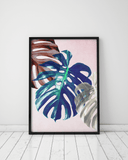 Blue And Pink Monstera Leaf Wall Art