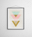 Pastel Geometric Triangle Wall Art