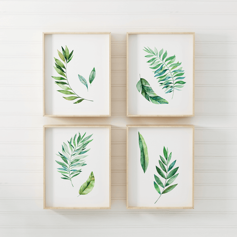 watercolor-leaves-print-set-of-4