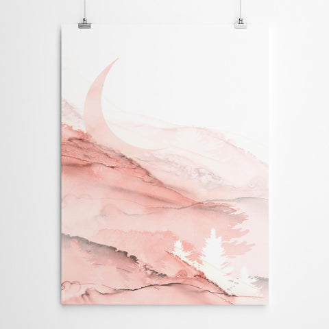 Pink Abstract Ink Art Print