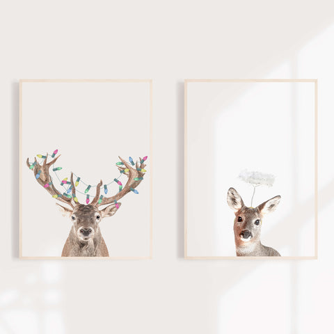 Reindeer And Doe Christmas Wall Art Print
