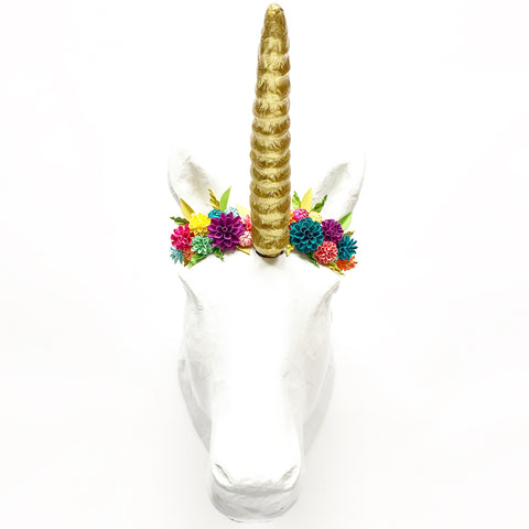Paper Flower Embellished Unicorn Wall Mount
