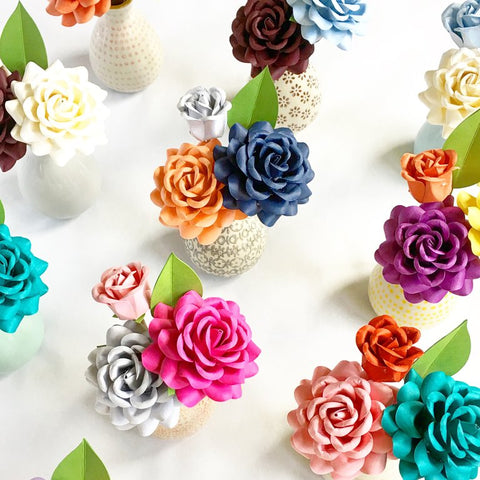 Paper Rose Bud Arrangement