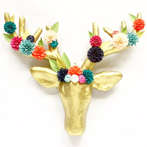 Paper Flower Embellished Deer Head Wall Mount