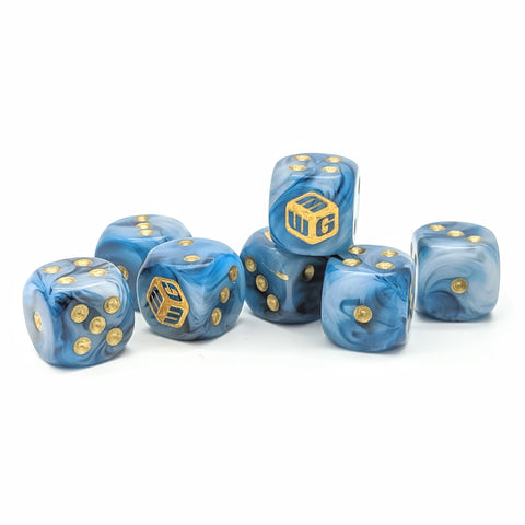 Limited - Palace Marble MiniWarGaming Dice Set - 7 6-Sided Dice (7D6)
