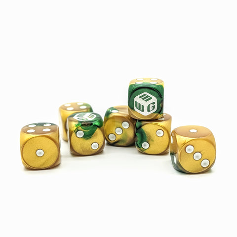 Limited - Gold Plated MiniWarGaming Dice Set - 7 6-Sided Dice (7D6)