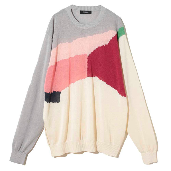 Crew Neck Multi Paper Knit (UC1A4912-4) Gray base