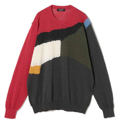 Crew Neck Multi Paper Knit (UC1A4912-4) Red base