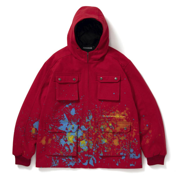 HOODED PAINTER JACKET (RED)