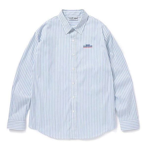 LAUNDROMAT STRIPED L/S SHIRT (WHT×SAX)