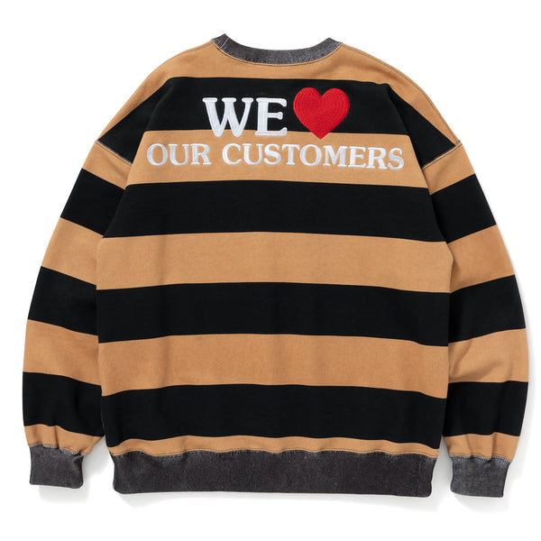 LAUNDROMAT BORDERED CREW SWEAT (BLK×BRW)