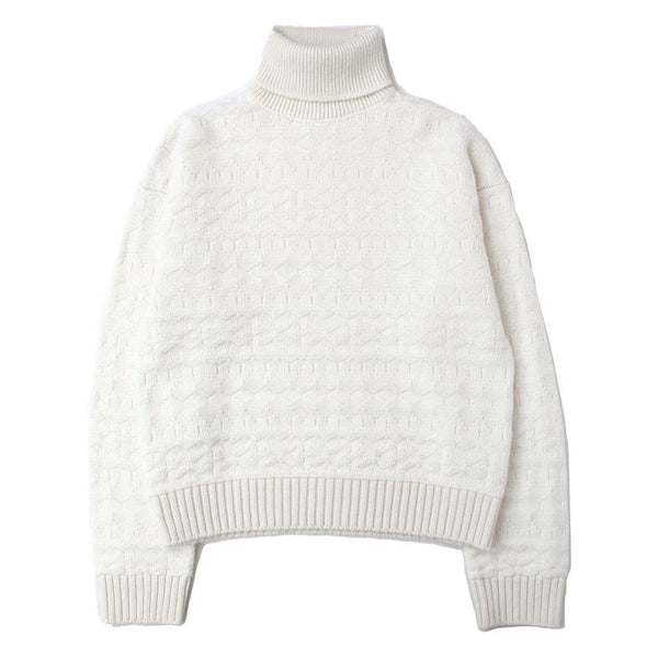turtleneck fair isle sweater (WHT)