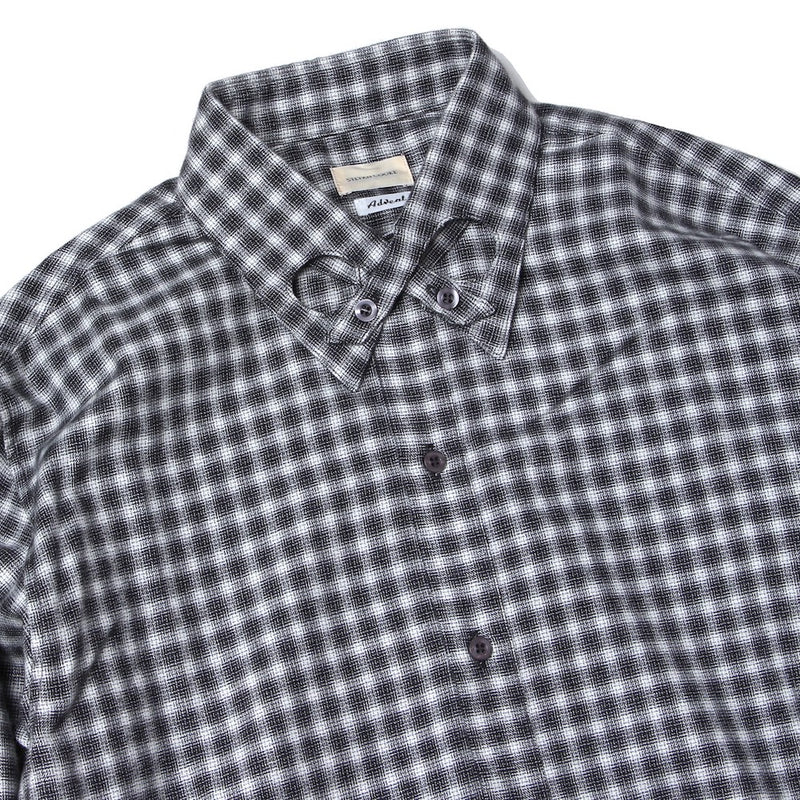 COTTON SHIRT WITH INFINITY COLLAR DETAIL (SCSS21SH1) Black and White Check