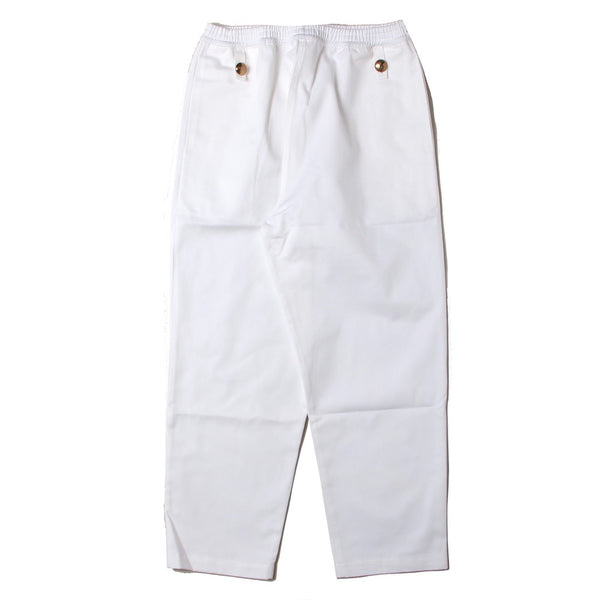 TROUSERS WITH ELASTIC WAIST AND BRASS BUTTONS (SCSS21TR2) White