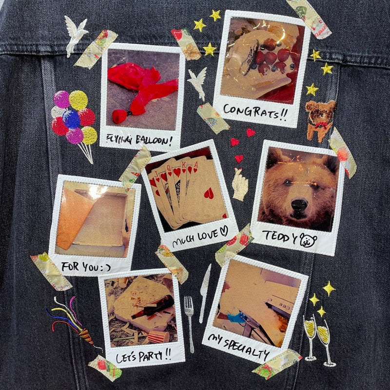 MEMORIAL POLAROID DENIM JACKET (BLK)