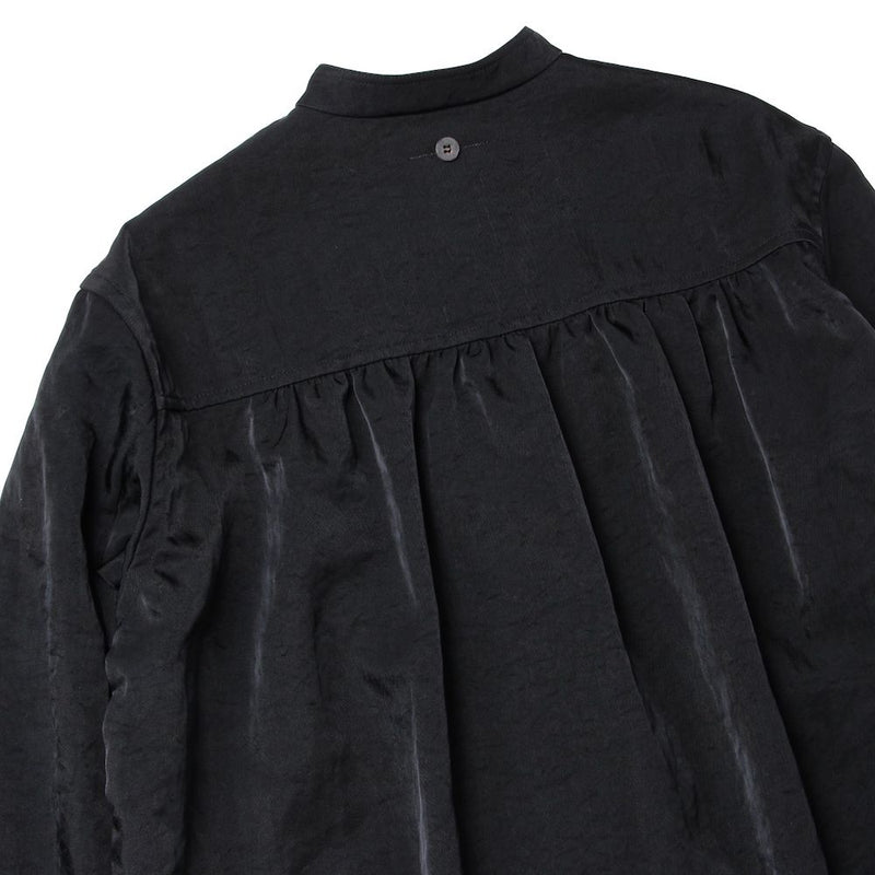 NO COLLAR GATHERED SHIRT (BLK)