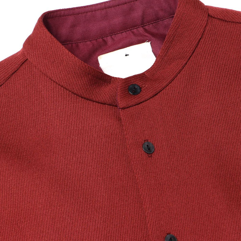 NO COLLAR GATHERED SHIRT (RED)