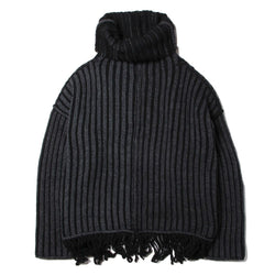 REVERSIBLE FRINGE KNIT (GRY)