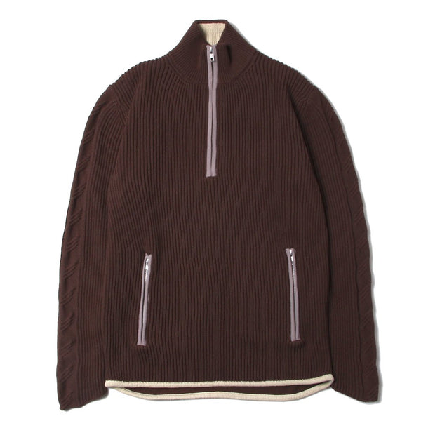 KNITTED RIB MOCK NECK SWEATER (SS21_33) Chocolate